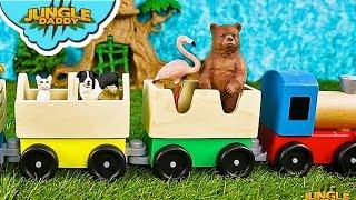 "Zoo ANIMAL TRAIN! ""Jungle Daddy"" learn wild animals at farm safari"