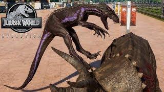 Jurassic World Evolution - 2 Triceratops & 2 Indoraptor Breakout & Fight! (1080p 60FPS)