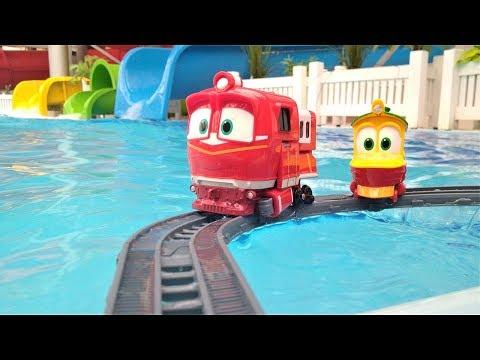 Приключения роботов-поездов в аквапарке. Мультики для мальчиков.
