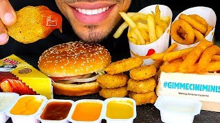 ASMR BURGER KING MUKBANG   CHICKEN NUGGETS ONION RINGS FUNNEL FRIES WHOOPER CHALLENGE EATING SOUNDS