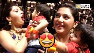 Mehreen Cute Moment with Kid @CMR Shopping Mall Launch
