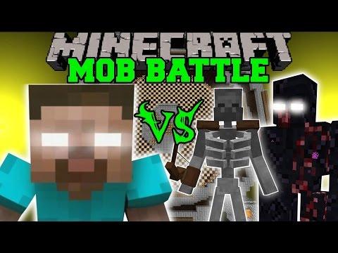HEROBRINE VS MUTANT SKELETON MUTANT OBSIDIAN GOLEM Minecraft Mob Battles Minecraft Mods