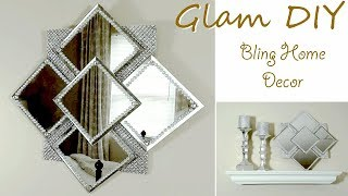 Dollar Tree DIY Easy Glam Bling Wall Mirror Glam Wall Decor