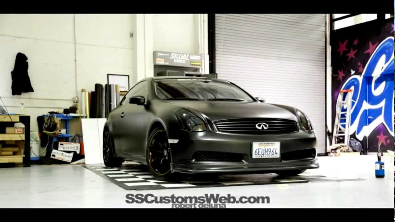Car Wraps Cost >> Infiniti G35 - Satin Black Car Wrap - SS Customs - YouTube