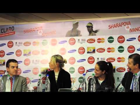 Maria Sharapova and Ana Ivanovic at press conference in Bogota,Colombia 2013