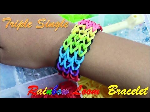 DIY Loom Bands Triple Single Rainbow Bracelet Tutorial