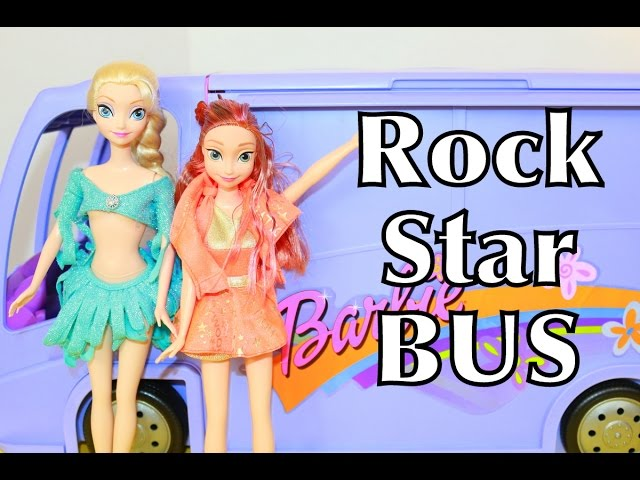 BARBIE Glam RV Motorhome Jam N Glam Tour Bus FROZEN ELSA & Anna ROCK STAR Toy Review