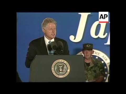 JAPAN: BILL CLINTON VISITS US MARINE BASE