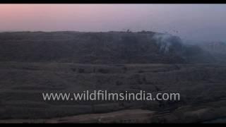 Fly over the huge Ghazipur garbage dump in East Delhi : mountain of trash