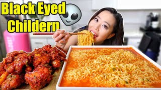 FIRE CHICKEN (KFC) + SPICY FIRE RAMEN NOODLES MUKBANG | Eating Show
