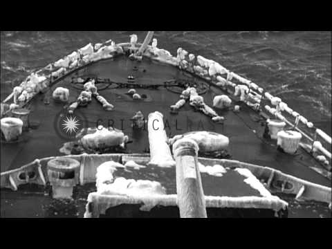 Japanese Imperial Navy warships in Aleutian waters in wintertime, during World Wa...HD Stock Footage
