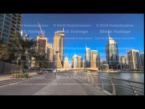 UAE Modern buildings in Dubai Marina. In the city of artificial channel timelapse hyperlapse