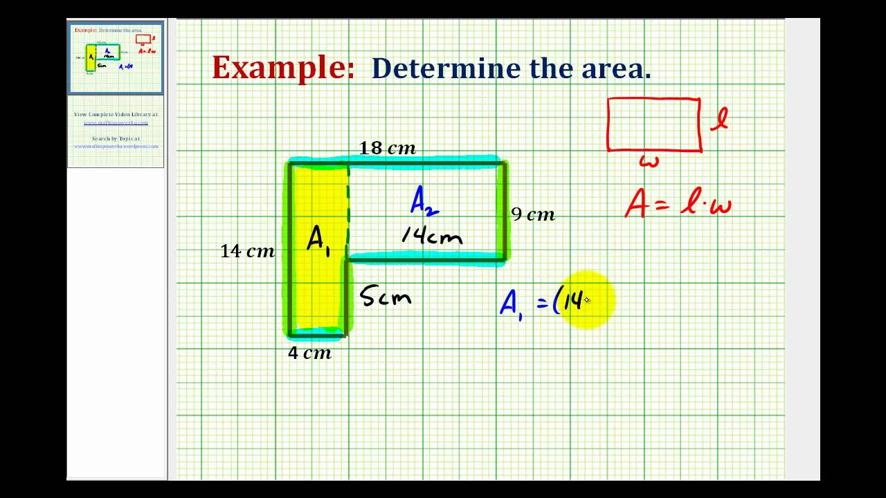 Ex Find The Area Of An L Shaped Polygon Involving Whole