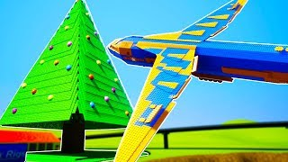 LEGO JUMBO JET SMASHES INTO THE LARGEST CHRISTMAS TREE! - Brick Rigs Workshop Creations Gameplay