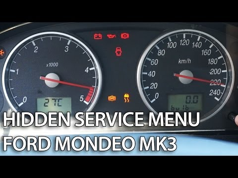 How to enter hidden menu in Ford Mondeo MK3 (service mode. gauges self-test. needle sweep)