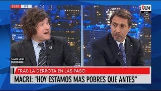 """""""Es una tortura lo que se viene en estos 77 días"""" Javier Milei con Eduardo Feinmann- 12/08/19"""