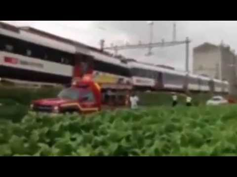 BREAKING: Swiss train derailed by landslide - Passenger's Mobile VIDEO