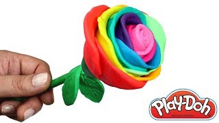 Play Doh Rainbow Rose How to Make a Flower with Play Doh Modelling Clay Ice Cream Creative for Kids