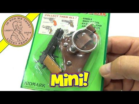 Mini Cap Shooter Single Shot Pistol Toy Cap Gun With Key Ring Holster, Kidmark