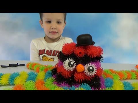 Конструктор Банчемс делаем цветные животные из шариков Banchems set unboxing make toy animals
