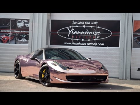 Yiannimize Ferrari 458 Wrapped in ROSE GOLD!