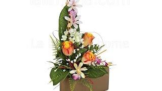 Arreglos florales artificiales. Jardinera cerámica rosas artificiales naranja - La Llimona