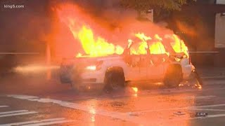 Vehicles set on fire during violent Seattle protests after George Floyd rally