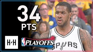 LaMarcus Aldridge Full Game 2 Highlights Spurs vs Warriors 2018 Playoffs - 34 Points, 12 Reb