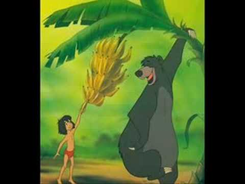 Jungle Book Baloo bear and Mowgli sing The Bare Necessities