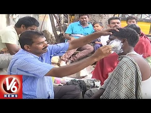 Special Story On Road Side Hair Saloons In Hyderabad City | V6 News