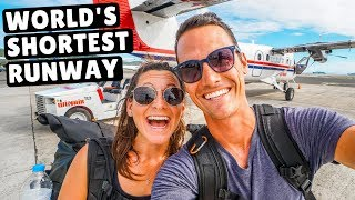 Landing on the SHORTEST RUNWAY in the  WORLD! Flying to Saba Island