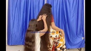 Massive Dense Below Knee Length Hair Indian Lady Brushing by Another Rapunzel