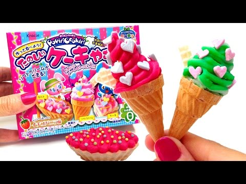 Kracie Popin' Cookin' Mini Ice Cream Shaped Candy たのしいケーキやさん How to Make Ice Cream Candy