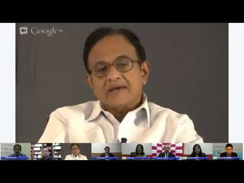 Google+ Hangout with Union Finance Minister Mr. P Chidambaram. Question by IIM B Student