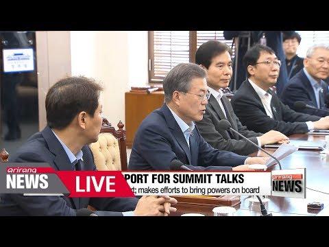 """[LIVE/ARIRANG NEWS] S. Korean President Moon says """"fate of Korean Peninsula hangs""""..."""