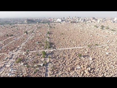 Stunning drone images of world's biggest cemetery, Iraq