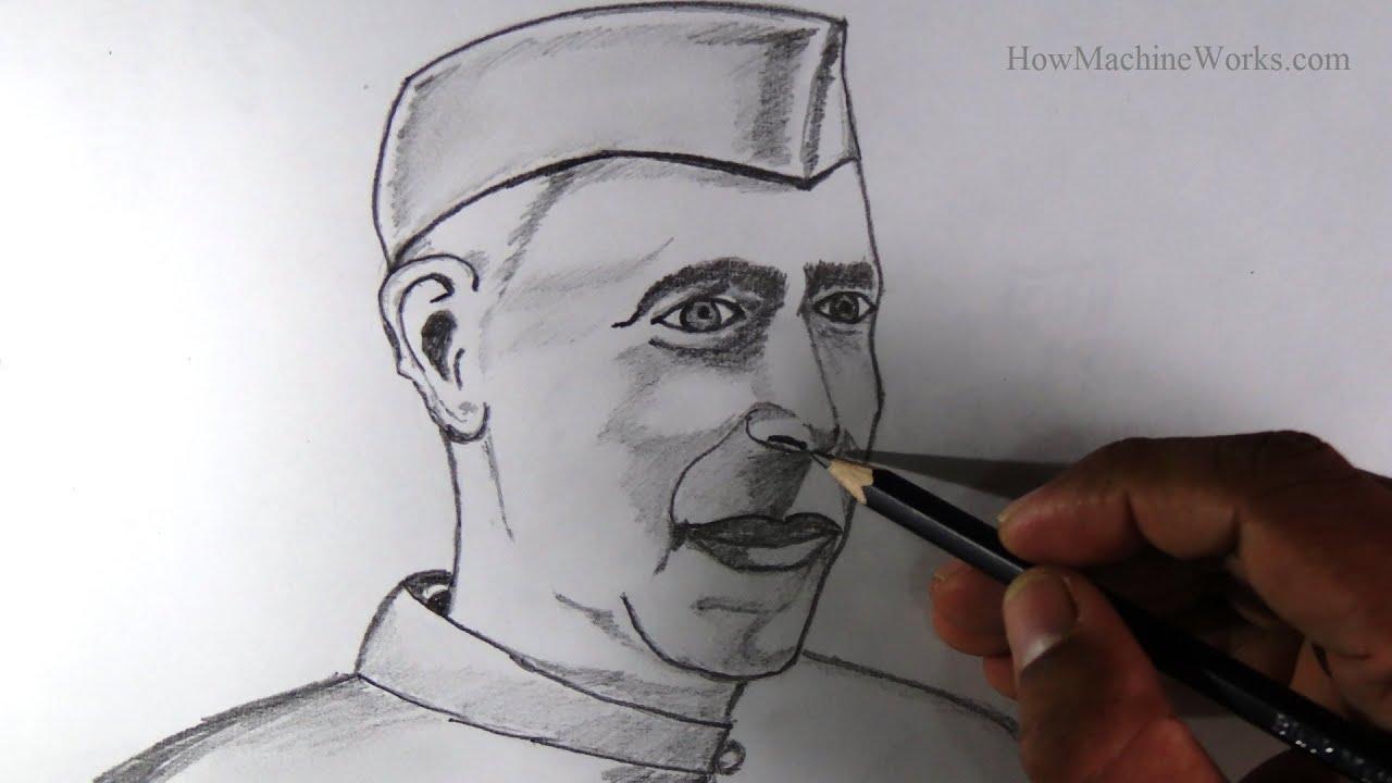 Pandit Jawaharlal Nehru Drawing How to Draw Jawaharlal Nehru