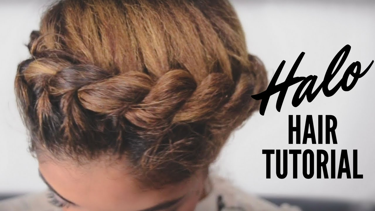 Braided Updo Styles For Natural Hair: Halo Updo Tutorial On Natural Hair