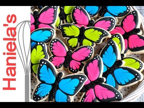 Butterfly cookies haniela 39 s youtube - How to decorate butterfly ...