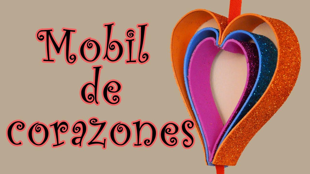 Movil de corazones manualidad para san valentin hearts - Corazones de san valentin ...