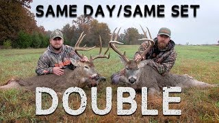 Hunters Double Up on Two Whitetails - Extremely RARE Hunt!