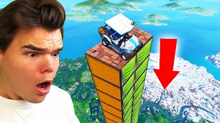HOW FAR Can A Car FLY In FORTNITE?! (Fortnite Mega Ramp)  from Jelly