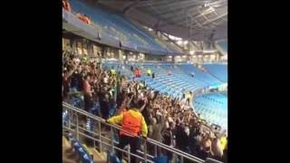Gladbach Ultras singing at Etihad Stadium (Canceled match | Manchester City - Gladbach)