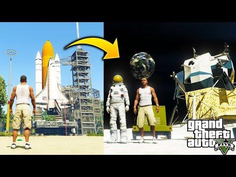 ¿Que Pasa Si Viajamos A La Luna en un Cohete Espacial? INCREIBLE GTA 5 Expansion de Mapa al Espacio