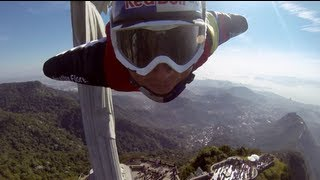 Wingsuit proximity flying by Christ the Redeemer in Rio de Janeiro