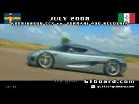Koenigsegg CCX vs Ferrari 430 Scuderia 50-300km/h = GTBoard.com