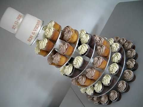 Wedding Cupcake Cake on a cupcake cake stand tower The top cake is a