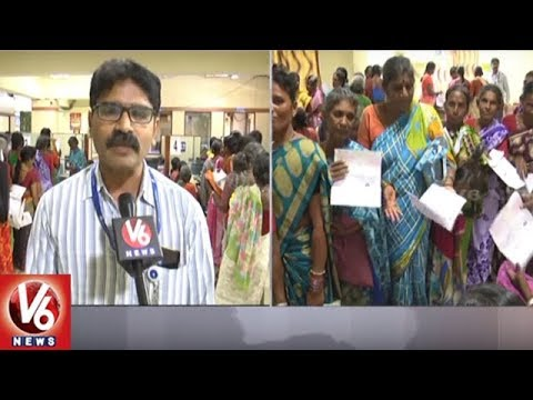 Rythu Bandhu Cheques : Farmers Rush To Banks To Withdraw Money In Bhoothpur | V6 News
