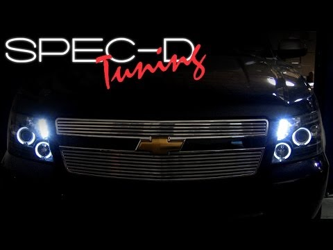SPECDTUNING INSTALLATION VIDEO: 2007 & up CHEVY AVALANCHE Projector headlight installation video