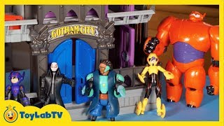 Big Hero 6 toys Disney Hiro Hamada Baymax, Batman Gotham City Jail Play Doh Honey Lemon Go Go Tomago